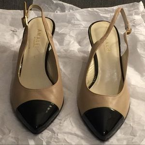 Taupe and Black Slingback Pumps